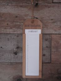 Houten kalender birthdays naturel 12,5x38,5x2 cm