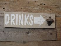 Houten bier opener DRINKS naturel wit 40x12x4 cm