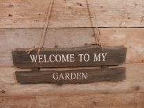 Wandbord Welcome to my Garden naturel 58 cm x 20 cm hoog x 2 cm
