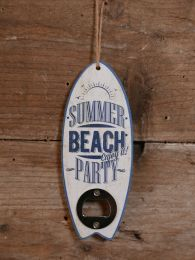 Opener Summer Beach Enjoy it Party blauw/wit mdf 17,5 x 7 x 1 cm