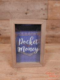 "Spaarpot ""pocket money' naturel blauw  18 cm x 12,6 cm x 3 cm"