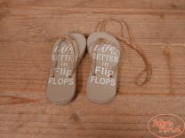 "Houten slippers ""Life is Better in Flip Flops"" taupe 11 x 2 x 13 cm hoog"
