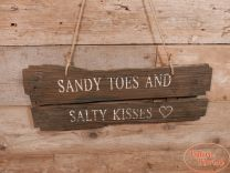 Wandbord Sandy Toes and Salty Kisses naturel 58 cm x 20 cm hoog x 2 cm