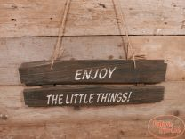 Wandbord Enjoy the Little Things naturel 58 cm x 20 cm hoog x 2 cm