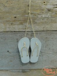 Houten slippers set M taupe 7 x 1 cm x 15 cm hoog