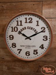 Wandklok New York City metaal titanium antique wit Ø 59 cm x 7,5 cm