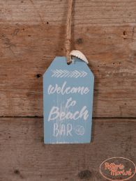 "Tekstbord ""Welcome to Beach Bar"" blauw 12 cm hoog x 6,5 cm hoog x 1 cm"
