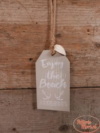 "Tekstbord ""Enjoy the Beach"" taupe 12 cm hoog x 6,5 cm hoog x 1 cm"