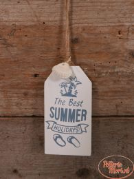 "Tekstbord ""The Best Summer Holidays"" wit 12 cm hoog x 6,5 cm hoog x 1 cm"