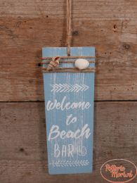 "Tekstbord ""Welcome to Beach Bar"" blauw 22 cm hoog x 8 cm x 1 cm"