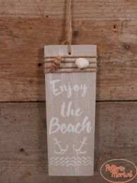"Tekstbord ""Enjoy the Beach"" taupe 22 cm hoog x 8 cm x 1 cm"