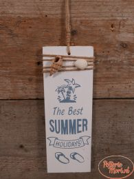 "Tekstbord ""The Best Summer Holidays"" wit 22 cm hoog x 8 cm x 1 cm"