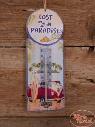 Thermometer Lost in Paradise 7 cm hoog x 10 cm.