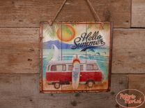 Metalen Wandplaat VW Hello Summer Afmeting 30 x 30 x 1 cm