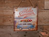 Metalen Wandplaat VW Hello Summer Enjoy Afmeting 30 x 30 x 1 cm
