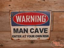 "Wandbord ""Warning Mancave"""